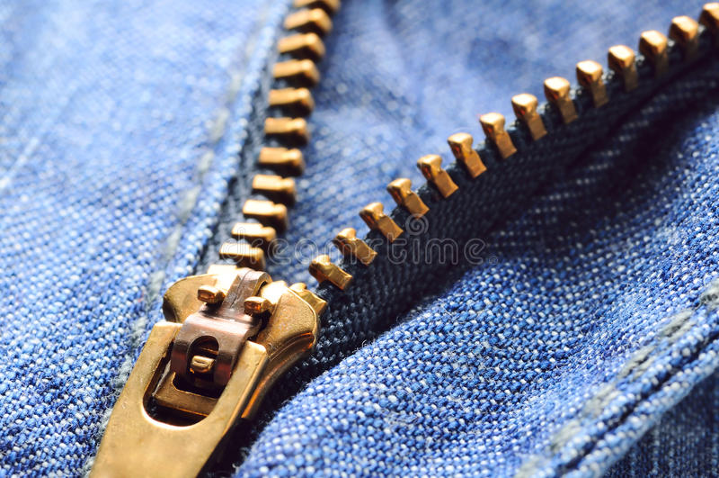 特写镜头牛仔裤拉链 库存图片