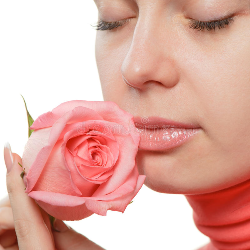 特写镜头玫瑰色妇女 图库摄影