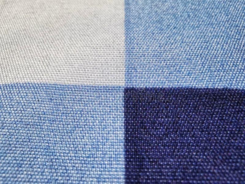 特写镜头白色和蓝色织品纹理 E 库存照片