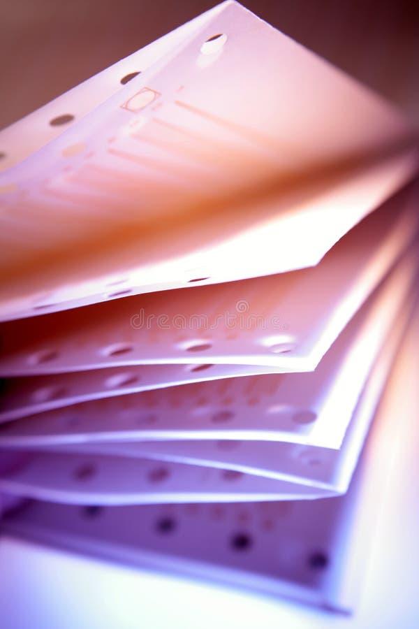 特写镜头纸打印机 免版税库存照片