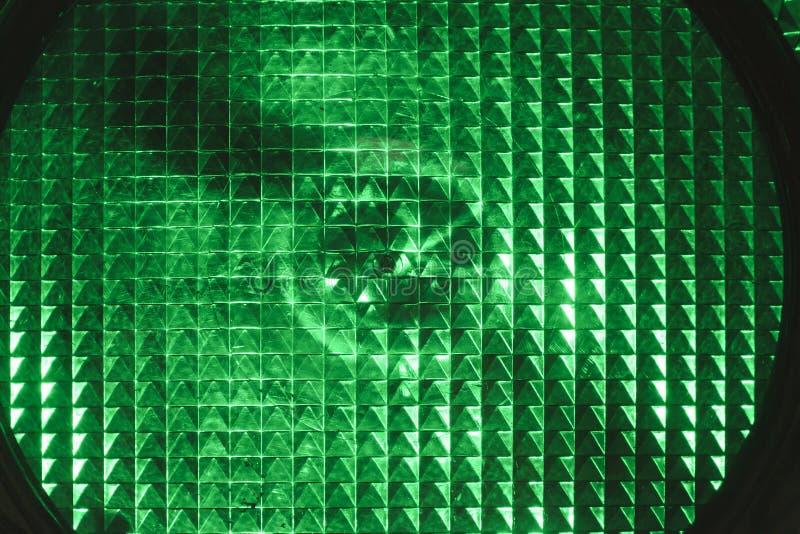 特写镜头绿灯业务量 库存图片