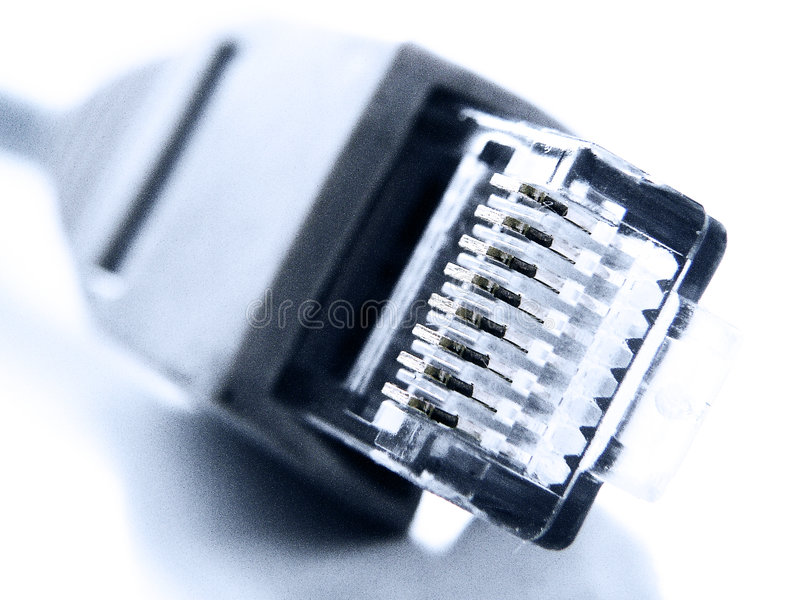特写镜头网络插件rj45 免版税库存照片