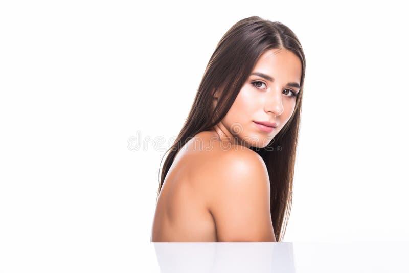 特写镜头美丽的女性面孔边画象在白色背景的 图库摄影
