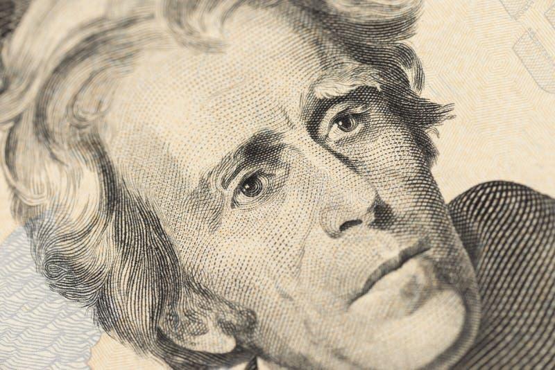 特写镜头美国金钱二十美金 安德鲁・杰克逊画象,美国20美元钞票片段宏指令 免版税库存照片