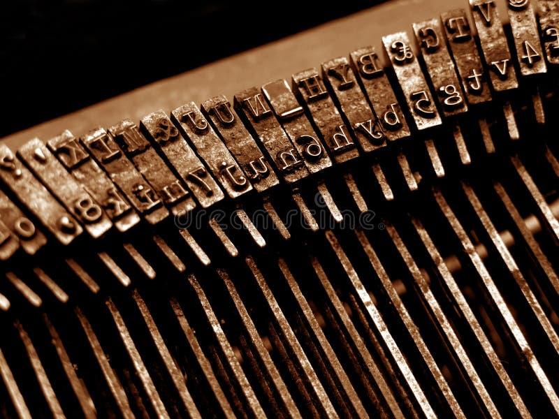 特写镜头老打字机 库存图片