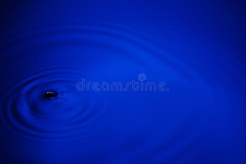 特写镜头蓝色波浪水敲响宏指令,在水池的圈子反射 库存图片
