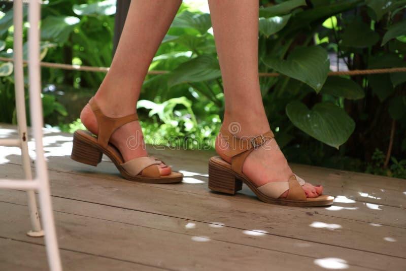 特写镜头被射击走木表面上的女性的典雅的脚 免版税库存照片