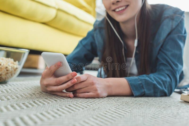 特写镜头部份观点的微笑的女孩 库存图片