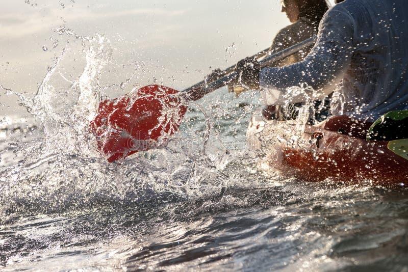 特写镜头飞溅皮船独木舟桨海海湾 库存照片