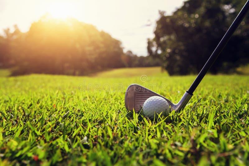 特写镜头高尔夫俱乐部和高尔夫球在绿草与日落 库存照片