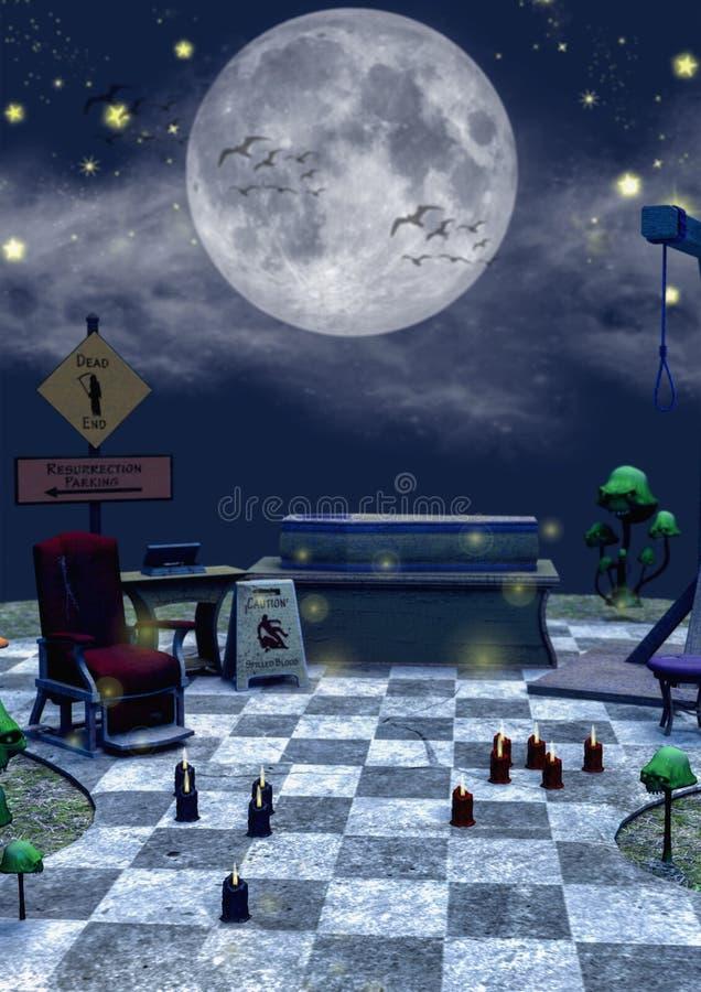 特写镜头黑暗的童话场面棺材,绞架,毒物采蘑菇和椅子 库存例证
