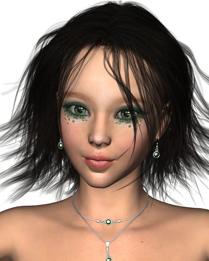 特写镜头黑暗神仙头发俏丽 向量例证