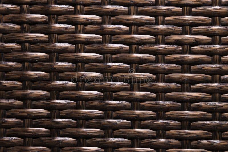 特写镜头黑褐色背景是柳条家具的元素由聚合物纤维做成 综合性豪华基体 库存照片