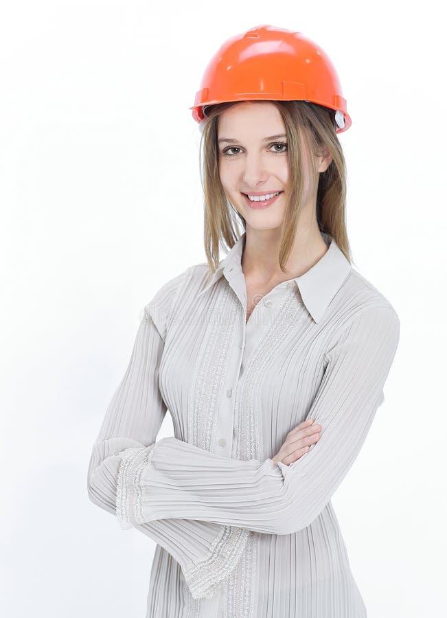 特写镜头 确信的女性工程师 查出在白色 库存图片