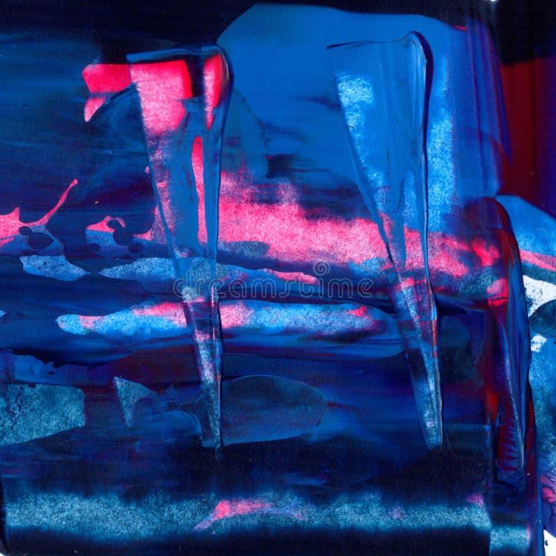 特写镜头丙烯酸漆纹理 蓝色,紫色和紫罗兰色颜色混合 与调色刀踪影的抽象绘画 五颜六色 库存例证