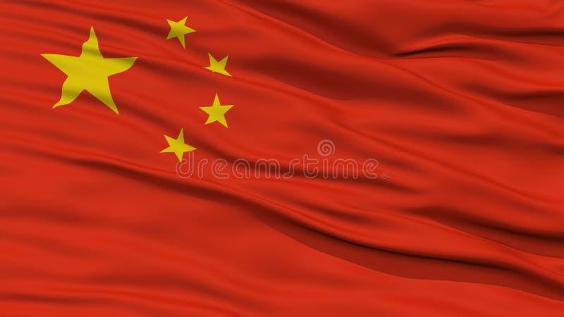 特写镜头中国旗子 库存例证