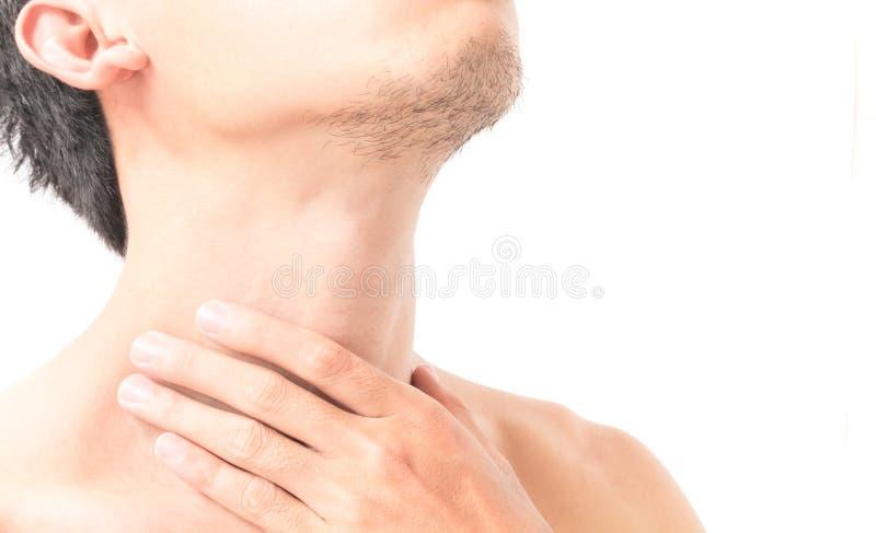 特写镜头人喉头痛苦以白色背景的,健康加州病残 免版税图库摄影