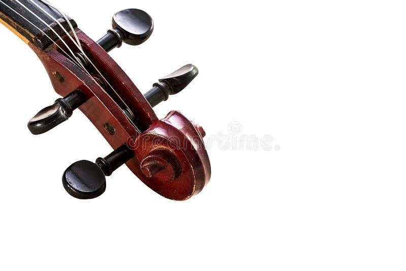 特写镜头在白色背景的小提琴头 库存照片