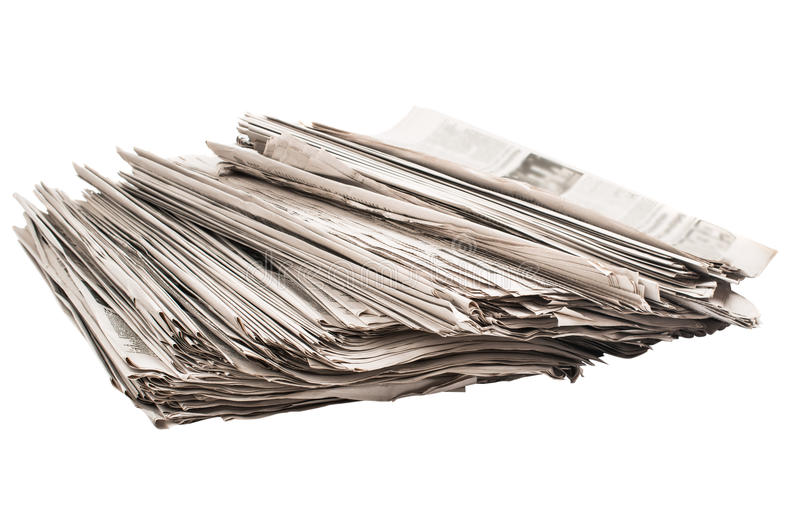 特写镜头堆报纸 免版税库存图片