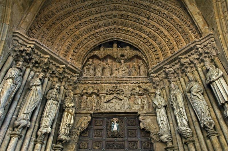 特写镜头宗教雕塑,大教堂Tui,西班牙 免版税库存照片