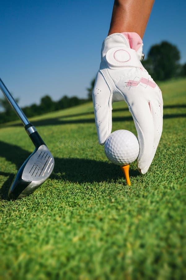 特写镜头手举行高尔夫球 库存图片
