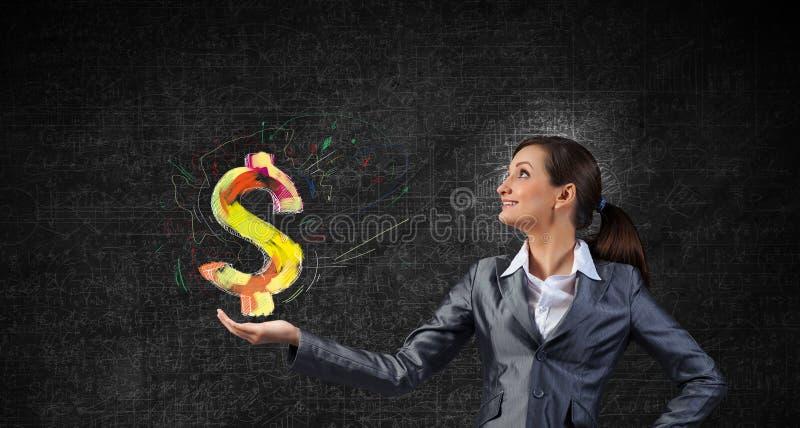 特写镜头概念美元表面微笑的黄色 图库摄影