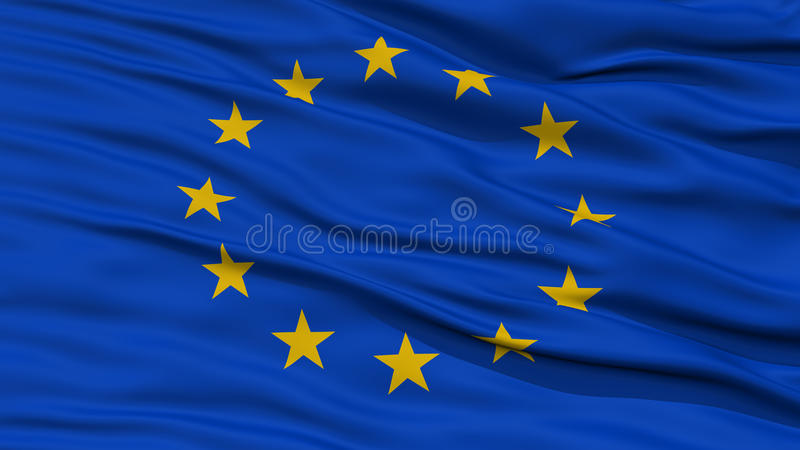 特写镜头欧洲旗子 皇族释放例证