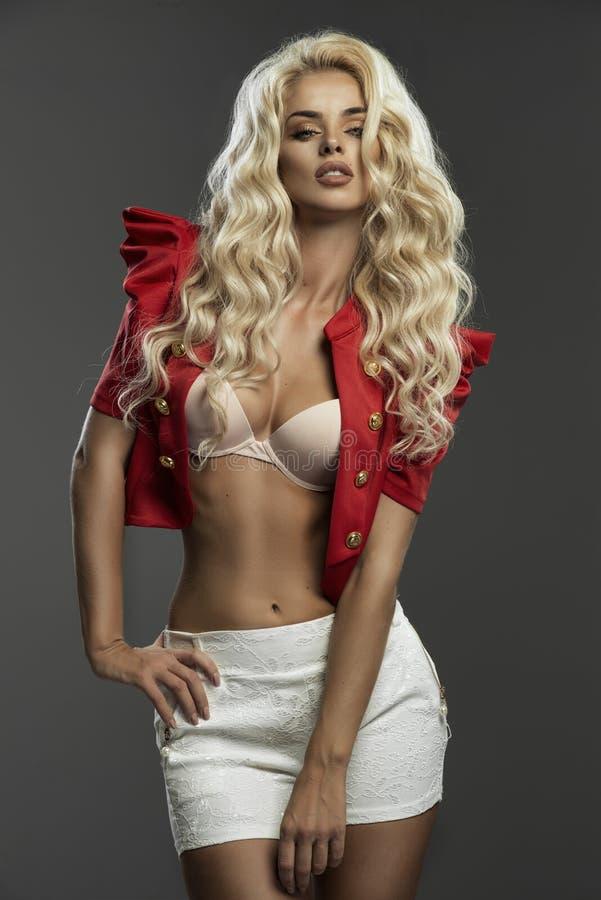 特写镜头年轻白肤金发的妇女秀丽画象  免版税库存照片