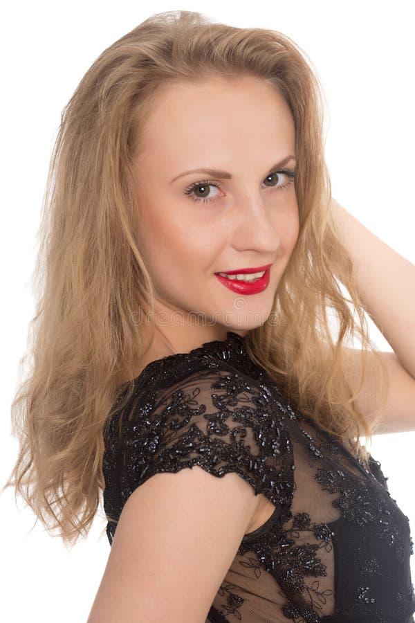 特写镜头年轻白肤金发的妇女 库存图片