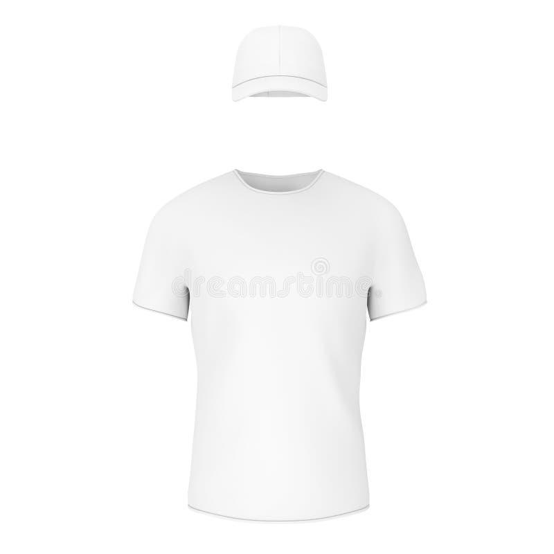 特写镜头白色空白的T恤杉和盖帽有空的空间的你的D 库存例证