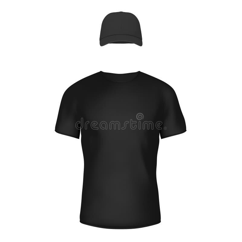 特写镜头黑空白的T恤杉和盖帽有空的空间的你的D 库存例证