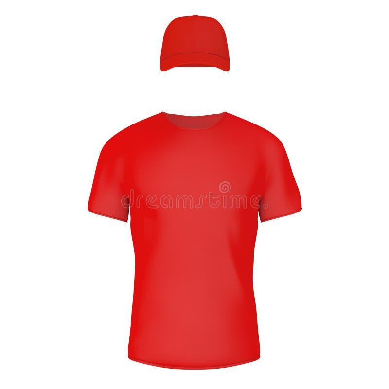 特写镜头红色空白的T恤杉和盖帽有空的空间的你的Des 库存例证