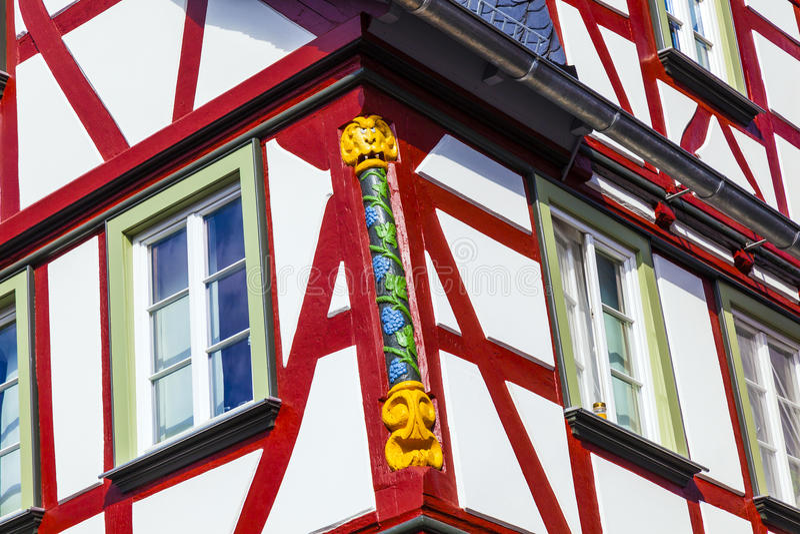 特写镜头详述在一个半木料半灰泥的房子在韦茨拉尔,德国 免版税图库摄影