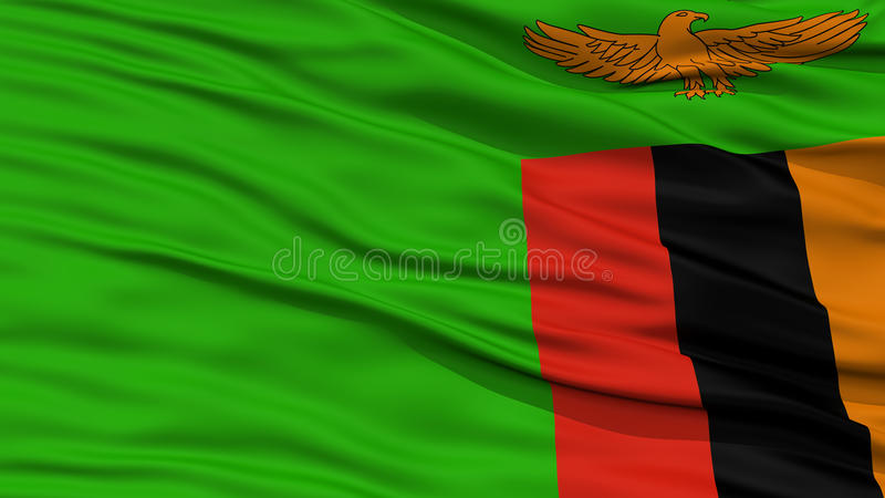 特写镜头赞比亚旗子 库存图片