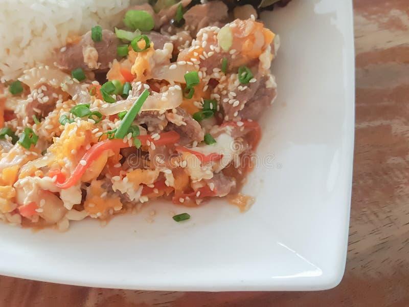 特写镜头,泰国食物样式:& x22; Kaow Moo大桶垫Thai& x22; fied猪肉,鸡蛋 库存照片