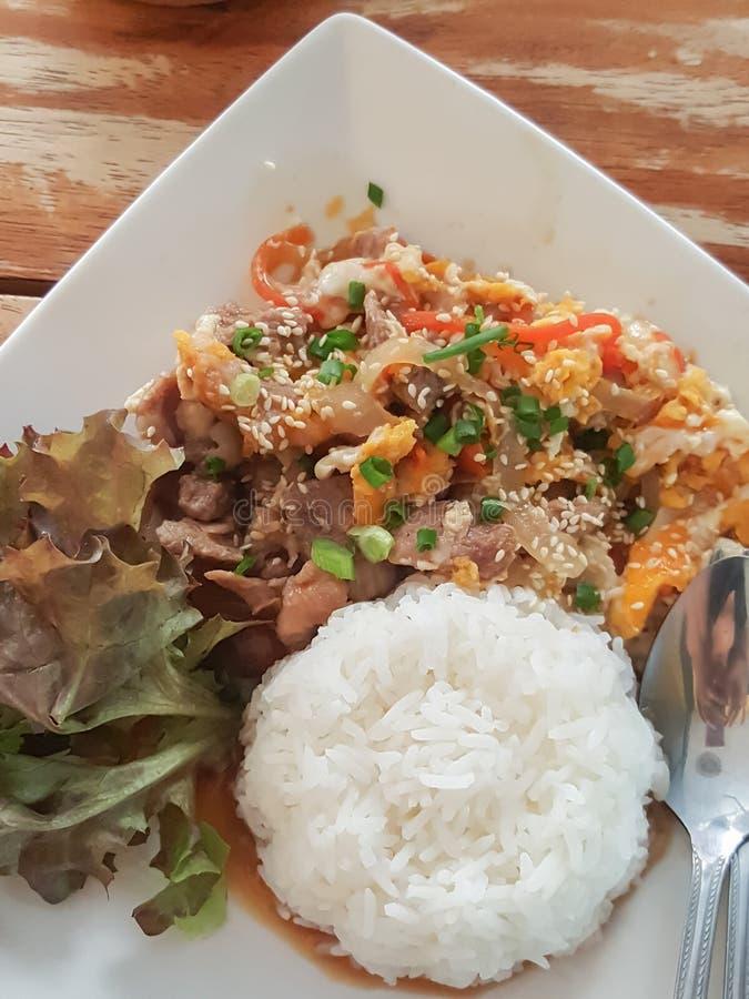 特写镜头,泰国食物样式:& x22; Kaow Moo大桶垫Thai& x22; fied猪肉,鸡蛋 免版税库存图片