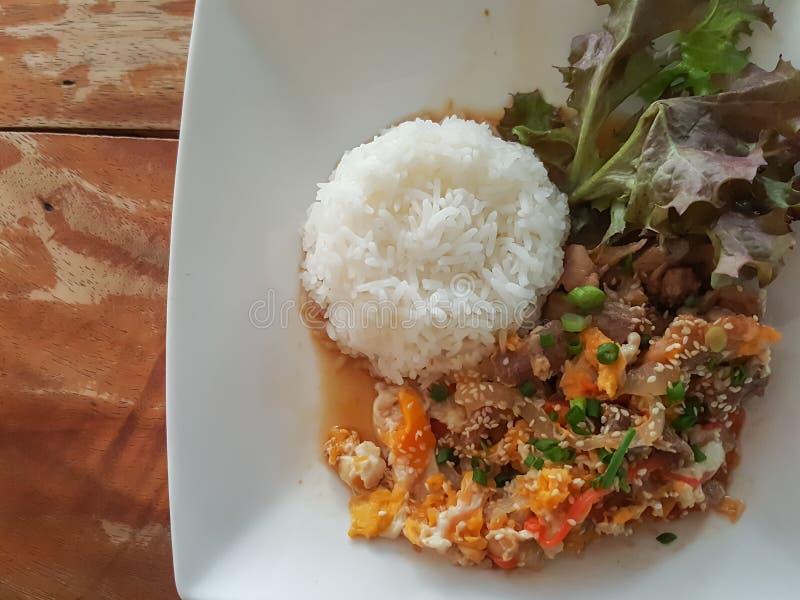 特写镜头,泰国食物样式:& x22; Kaow Moo大桶垫Thai& x22; fied猪肉,鸡蛋 免版税库存照片