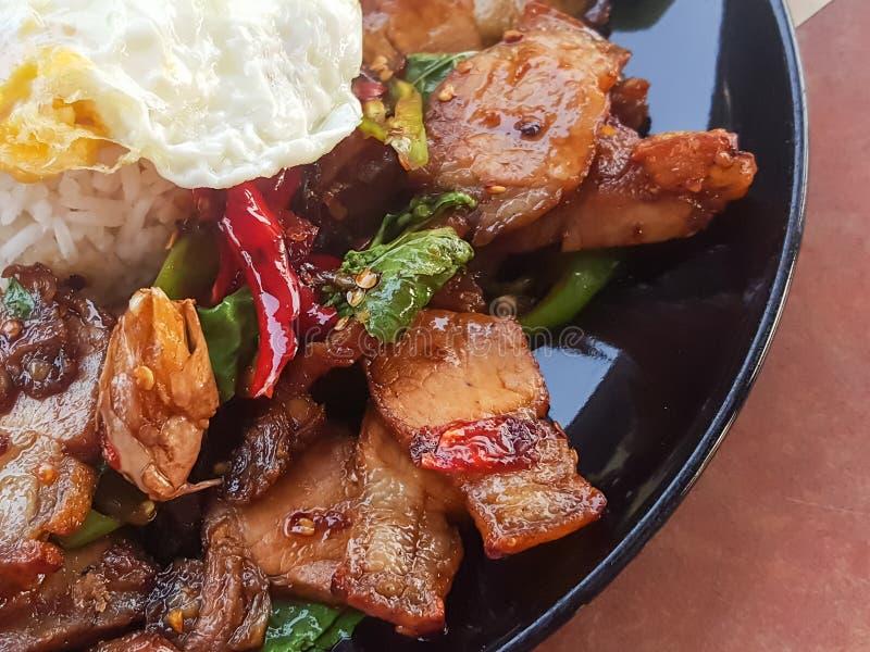 特写镜头,泰国食物:& x22; Kao垫Kra Prao& x22; 油煎的蓬蒿酥脆猪肉 免版税库存图片