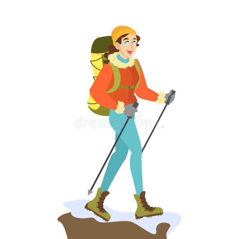 特别冬季衣服的妇女登山者 皇族释放例证