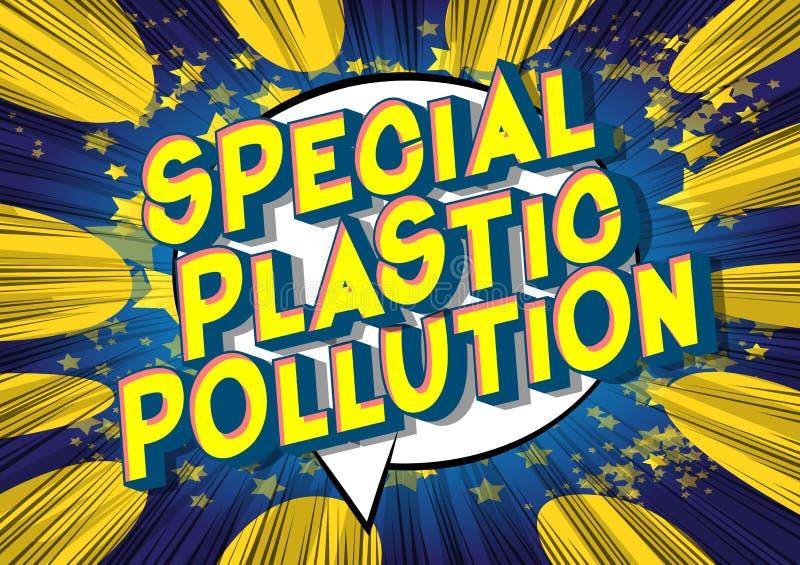特别塑料污染-漫画样式词 皇族释放例证