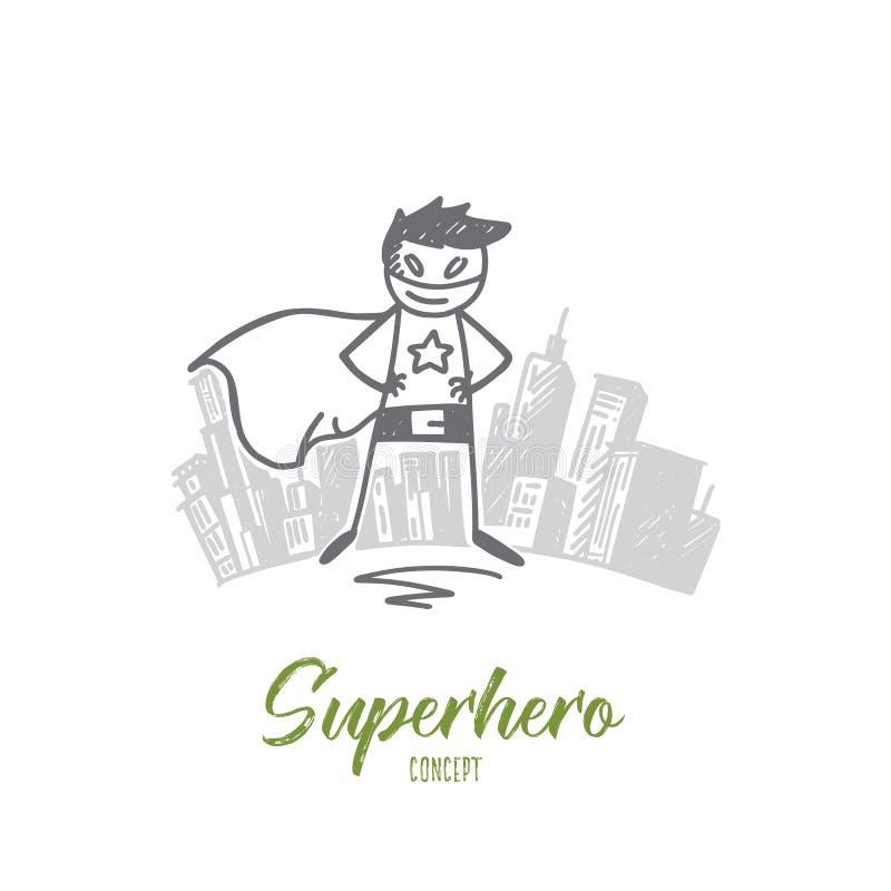 特别服装的手拉的超级英雄 皇族释放例证