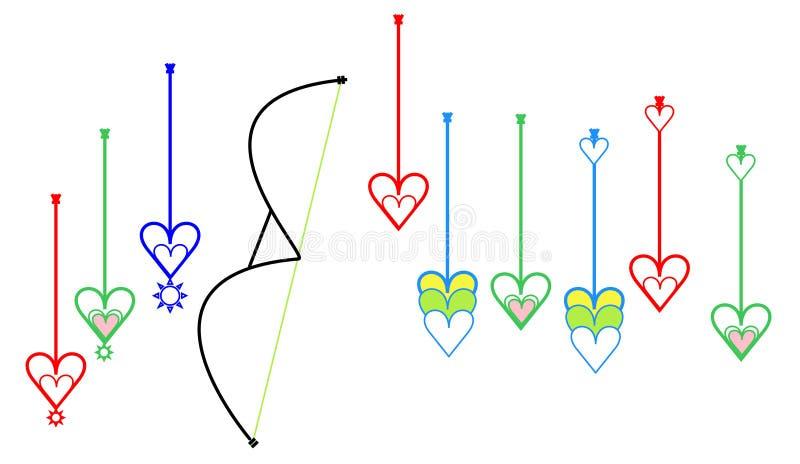 特别目标点箭头或瞄准点箭头或lakhyabhed箭头充满爱签署象 库存例证