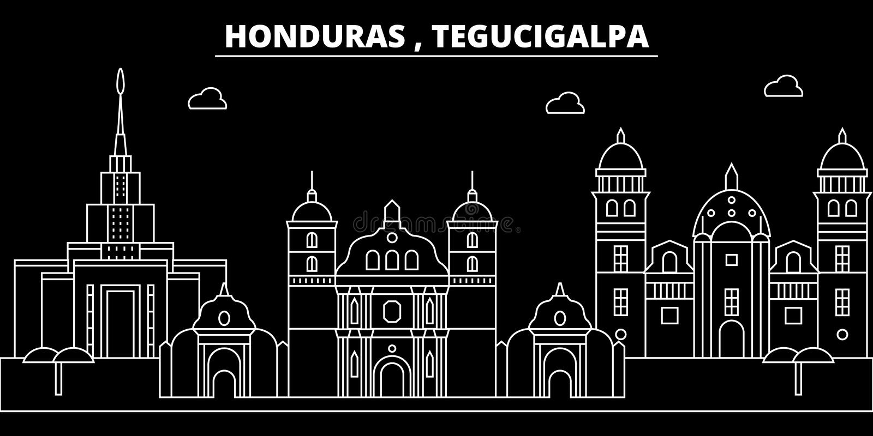 特古西加尔巴剪影地平线 洪都拉斯-特古西加尔巴传染媒介城市,洪都拉斯线性建筑学 特古西加尔巴旅行 皇族释放例证