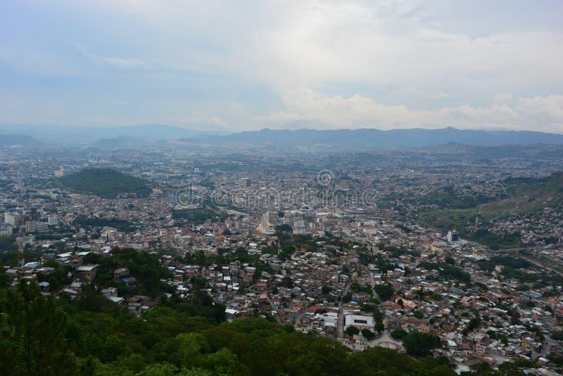 特古西加尔巴,洪都拉斯全景  免版税图库摄影