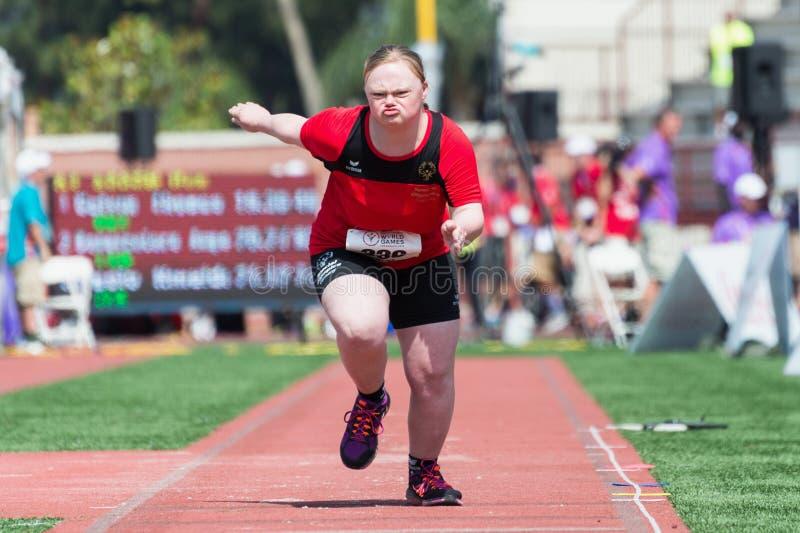 特奥世界运动会洛杉矶2015跳远运动员 免版税库存照片