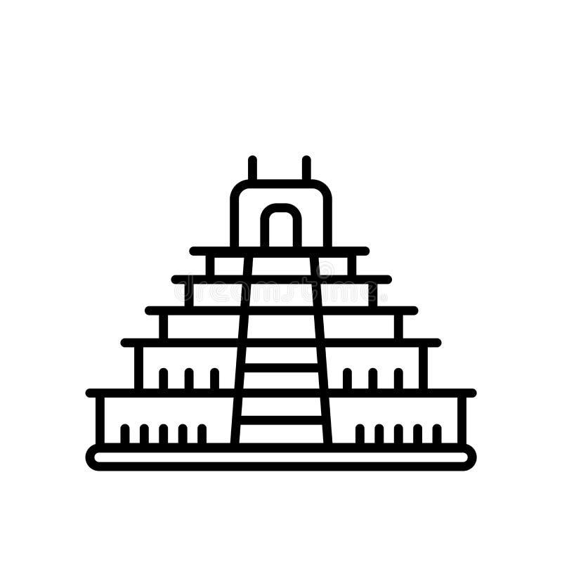 特奥蒂瓦坎在白色背景、特奥蒂瓦坎标志、线或者线性标志隔绝的象传染媒介,在概述样式的元素设计 皇族释放例证
