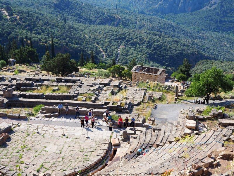 特尔斐剧院,阿波罗,帕纳塞斯山,希腊圣所  图库摄影