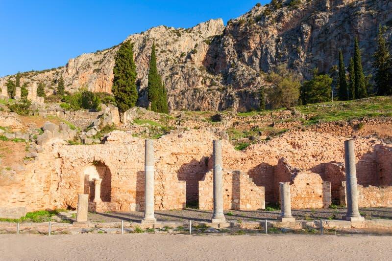 特尔斐古老圣所,希腊 免版税库存图片