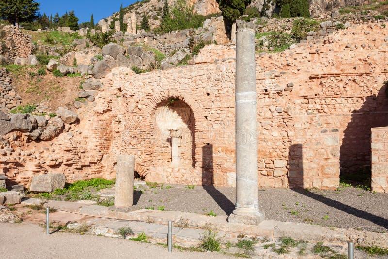 特尔斐古老圣所,希腊 免版税库存照片