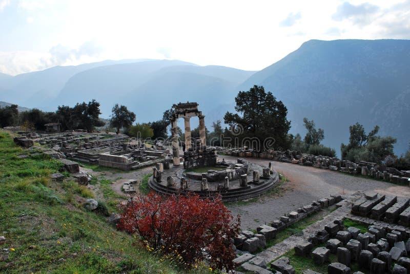 特尔斐古老Tholos的废墟  库存图片